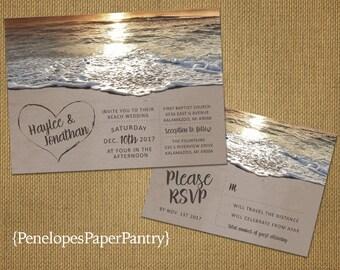 Romantic Beach Wedding Invitation,Heart in the Sand,Sandy Beach,Sunset,Destination Wedding,Hawaii Wedding,Printed Invitation,Wedding Set