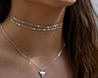Sterling Silver Dainty Double Wrapped Choker Necklace, Two Layers, 2 Wraps Chain Choker 14k Gold Fill, 14kt Rose Fill, Two Layering Chains