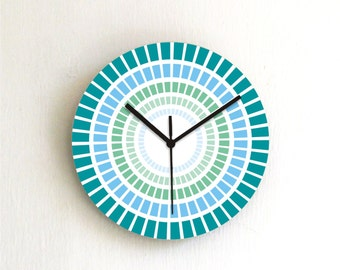 Blaue Wanduhr Petrol Jeans Küche Uhr geometrische Runde Wanduhr Wohnkultur