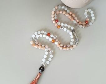 Necklace Mala harmony (Moonstone, sunstone, Carnelian, smoky quartz and rock crystal)
