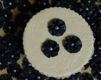 100 Black Royal Icing Drop Flowers for Cupcakes ,Cakes, Cookies