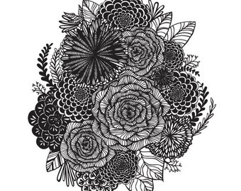 Black and White Floral  Illustration - Archival Art Print