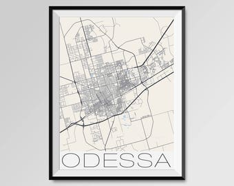 ODESSA Texas Map, Odessa City Map Print, Odessa Map Poster, Odessa Wall Map Art, Odessa gift, Custom city maps, Personalized maps, Texas map