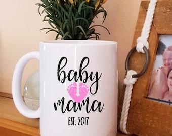 Baby Mama Coffee Mug, New Mom Mug, Mama with Baby Feet