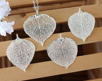 Silver Aspen Silver Leaf Necklace, Real Leaf Necklace, Aspen Leaf, Sterling Silver Leaf Necklace, Long Leaf, Slim Leaf, LC192