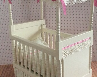 Miniature One Inch Scale Pink Floral Print Canopy Crib