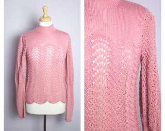 Vintage 1970's Dusty Rose Pink Crochet Juliet Sleeve High Neck Sweater M