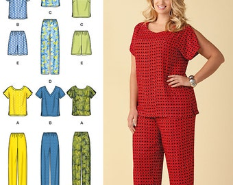 Simplicity Pattern 1446 Six Made Easy Pull on Tops and Pants or Shorts for Plus