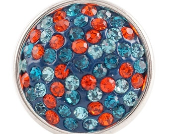 1 PC - 18MM Orangish Red Blue Rhinestone Silver Charm for Candy Snap Jewelry KC2715 Cc2299