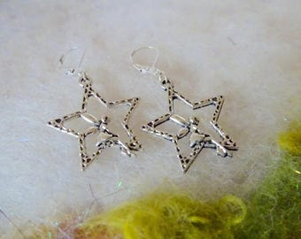 Fairy Star Earrings Flower Fairy Sitting on a Star Small Light Weight Earrings Fun Whimsical Jewelry