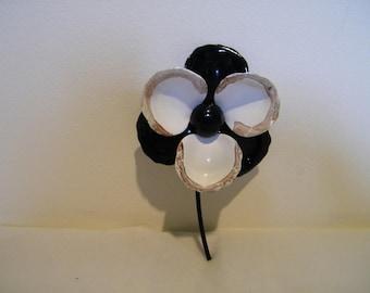 Vintage White Black Enamel Flower Pin