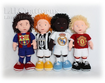 Football Players Crochet PDF Pattern,  Soccer Players Crochet Pattern, Footballer, Barcelona, Juventus, Real Madrid, Manchester United