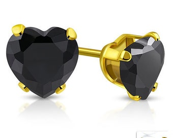Earrings, Earstuds Hearts with Black Gemstone 4mm Gold-plated Stainless Steel 316L