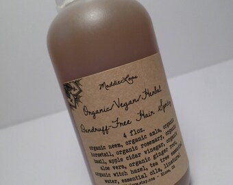 FREE SHIPPING-ORGANIC/Vegan/Herbal Dandruff-Free Hair Spritz-Organic Herbal Extracts-4oz. & 8oz.sizes-(leave in or rinse out-your choice)