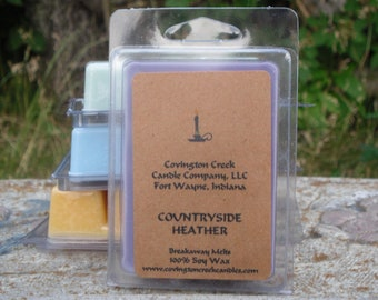 Countryside Heather 3 or 6 ounce Soy Breakaway Melt, Summer Scent, Floral Scent