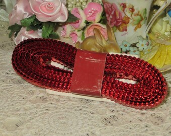 Vintage Hallmark Red Metal Foil Ribbon Trim-18 feet