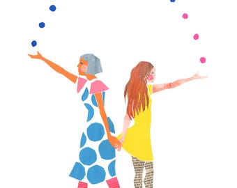 Archival Art Print - Mother's Day, Women, Friendship, Sisterhood, Sisters, Mother Daughter, Feminist Art, Colourful, Polkadots, Motherhood