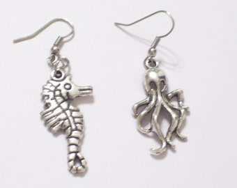 Asymmetrical Antiqued Silver Octopus and Sea Horse Earrings, Octopus Earrings, Silver Seahorse Earrings, Beach Earrings, Beach Jewelry
