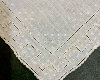 Beautiful Vintage 1940's 9 x 9 Madeira Linen Bridal Hankie Embroidery and Openwork