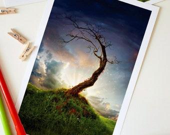 Large Fantasy Postcard, Nursery Decor, Home Decor, Greeting Card, Invite - 8.5 x 5.5 inch