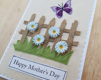 Mother's day applique butterfly and quilled flower card
