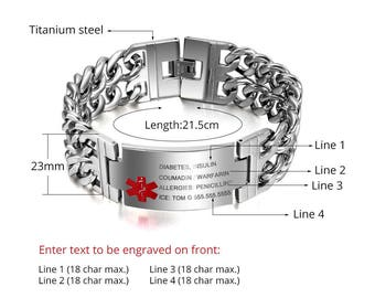 "8.5"" 21.5cm Free Engraving Emergency Medical Alert ID Bracelet Medical MEN _Free SHIPPING"