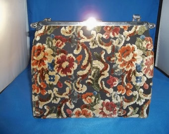 VINTAGE 60's Purse L & M By Edwards Hand Bag Floral Tapestry Pocketbook Reversible Purse 3-In-One Bag STEAMPUNK Purse Free Shipping