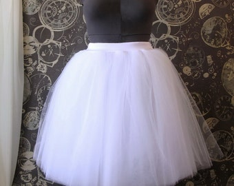 White Plus Size Tulle Skirt with Stretch Waist - Tea Length Adult Tutu, Petticoat with Lycra Waistband - Custom Size, Made to Order
