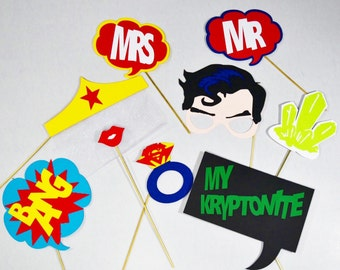 9 PC* Superhero wedding photobooth props