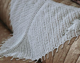 White Wedding Persephone Shawl with Beaded Accents and Shawl Pin