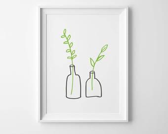 Minimalist Small Plants INSTANT DOWNLOAD Illustration Art, Green Poster, Minimalist, Illustration Artwork, Digital Art, Leaf Poster, 24x36