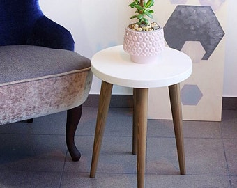 Stool Small Coffee Table Side Table Rround Table Wood Stool Scandinavian  Style End Table Lamp Table White Top Table Wood Stool ALD 0003WL
