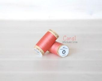 Organic Cotton Thread GOTS - 300 Yards Wooden Spool  - Thread Color Coral - No. 4807 - Eco Friendly Thread - 100% Organic Cotton Thread