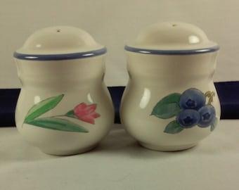 Pfaltzgraff Summer Garden Salt and Pepper Shakers, White Porcelain, Blueberries, Pink Flowers, Vintage Stoneware Salt and Pepper Shakers
