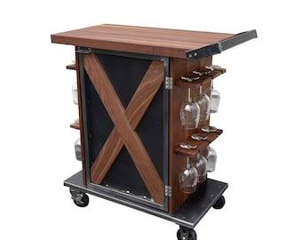 Industrial Bar Cart / Black Walnut / Wine Storage FREE SHIP