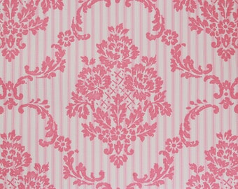 1970s Vintage Wallpaper Vinyl Pink Rose Damask on Pink Ticking by the Yard