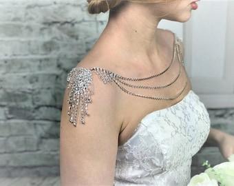 Crystal shoulder necklace bridal shoulder jewelry rhinestone necklace wedding jewelry bridal straps necklace crystal bolero body jewellery