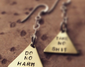 MATURE Do no harm handstamped brass sterling silver earrings