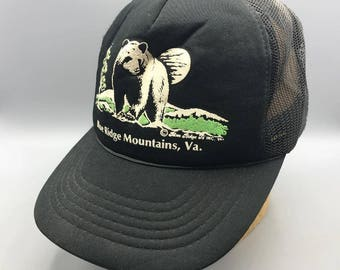 Vintage Blue Ridge Mountains Virginia Adjustable Snapback Trucker Hat Cap