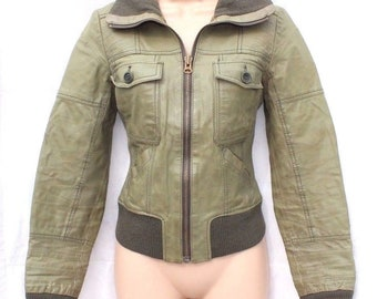 Vintage Pale Green 100% Real Leather ONLY FETCH Fitted Bomber Women's Coat Jacket Size S - M / UK10 - UK12