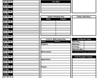 PRINTABLE Daily schedule layout w/S.O.A.P.