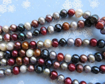 Earth Tones 6mm Potato Pearls, 16 Inch Strand - Item 3312