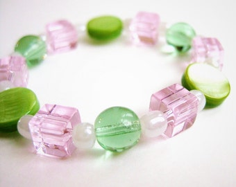 Pink and Green Beaded Bracelet with Clear Pink Glass cubes, Small Girls Stretch Bracelet, GB 110