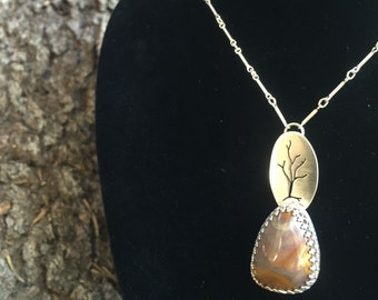 Growing Series #4 - California Jasper With A Tree Growing From The Stone - Sterling Silver Reiki Infused Neclace