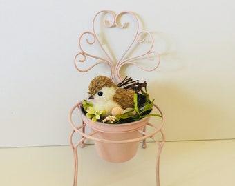 Pink Bird Nest Decor - Bird Nest Eggs - Shabby Cottage Chic - Distressed -  Chair Planter - Patio Porch Decor - Spring Centerpiece - French