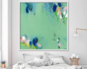 "Large wall art, abstract painting, Giclee print, up to 40x40"", modern Painting, Abstract Art, Acrylic Painting, Abstract Art, green"