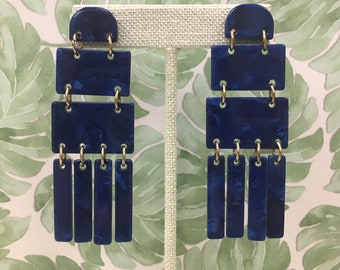 Blue Geometric Earrings