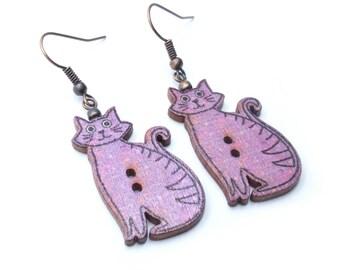Patterned Cats Wood Button Dangle Earrings