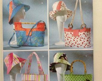b4532 NEW UNCUT hats and tote bags pattern