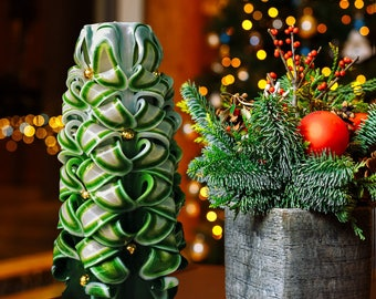 Christmas candle - Christmas tree - Carved candle - Christmas decor - Decorative candle -Green candle- Carved green candle - Christmas tree